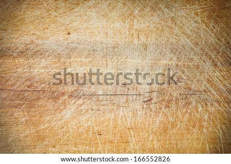 Old grunge wooden cutting kitchen desk board background texture  - stock photo