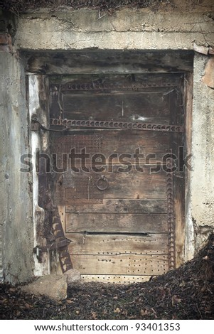 Old grunge wooden door - stock photo
