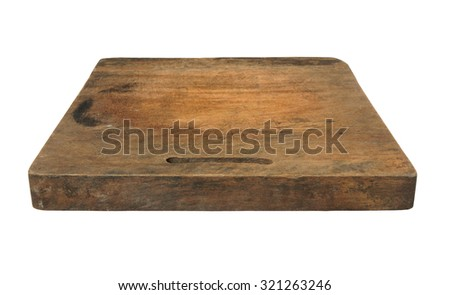 Old grunge wooden kitchen cutting board isolated on white - stock photo