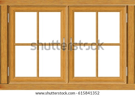 old grunge wooden window frame illustration on white background - Window Picture Frame
