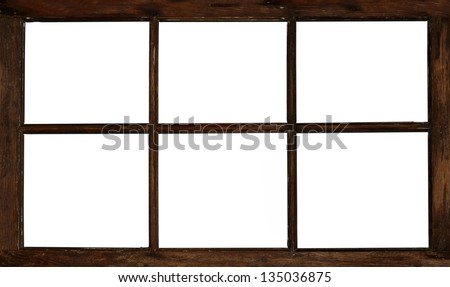 Old Grunge Wooden Window Frame Isolated On White
