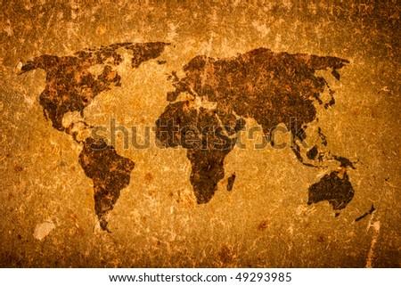Old grunge world map on canvas - stock photo