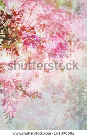 Old grungy background with violet wisteria  - stock photo