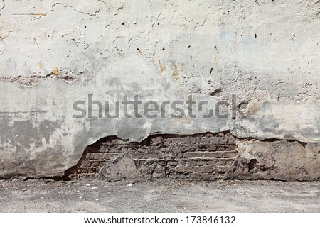 Old grungy cement brick wall with blank space for text.  - stock photo