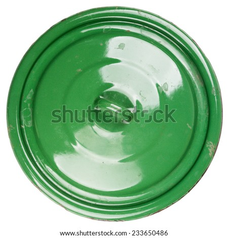 Old grungy green cooking pot lid isolated on white background - stock photo