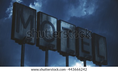 Old Grungy Motel Sign in Rain