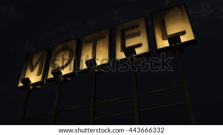 Old Grungy Motel Sign On the Road at Night 3D Illustration