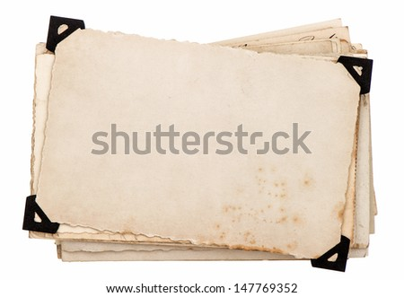 old grungy paper sheets isolated on white background. photo card with black corner - stock photo