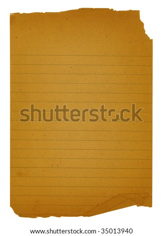 Old grungy piece of note paper with torn and folded edges. The file has a clipping path for easy removal from background. - stock photo