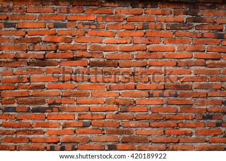 Old grungy retro vintage red brick wall texture background and Pattern - stock photo