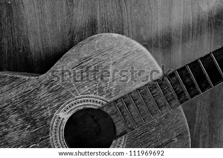 old guitar black and white - stock photo
