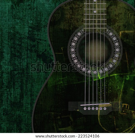 Old guitar painting - stock photo