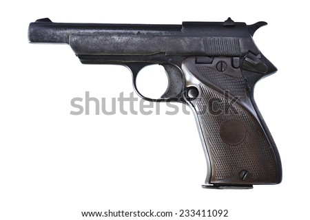 Old gun isolated on white background - stock photo
