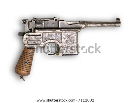 Old gun Mauser Germany on white background - stock photo