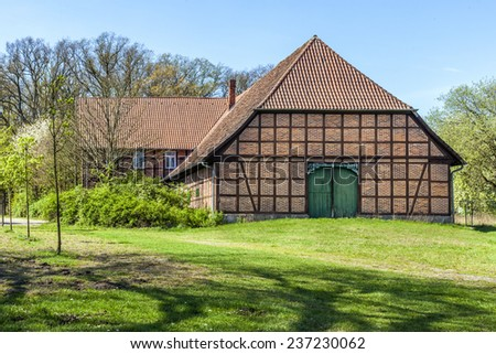 old Half timbered farm house in Germany - stock photo