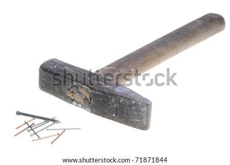 Old hammer - stock photo