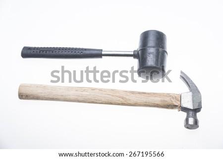 Old hammer isolated on white background - stock photo