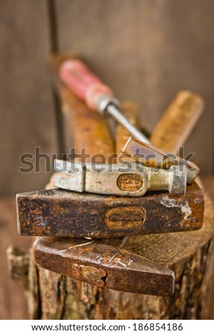 Old hammers - stock photo