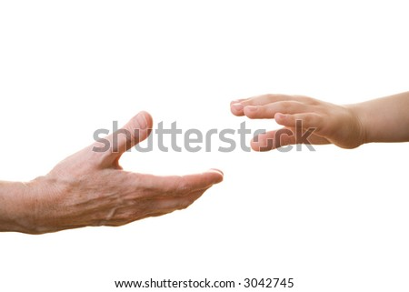 Old hand offering support to a young one - stock photo