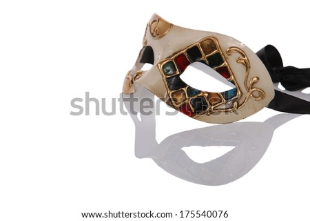 Old, hand painted, venetian, carnival mask on a white background. - stock photo