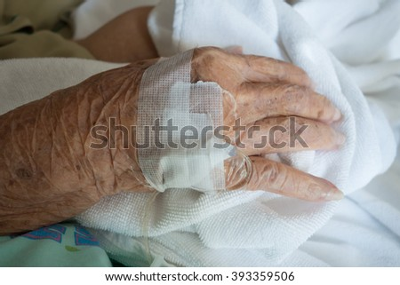 old hand sick in hospital - stock photo