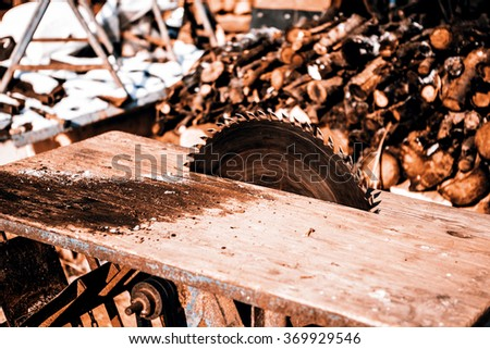Old handmade circular saw blade - stock photo