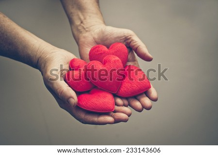 old hands of the female elderly holding small red hearts - stock photo