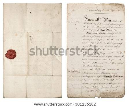 Old handwritten letter. Antique paper sheet with red wax seal. Manuscript. Parchment. Grungy textured paper background with edges - stock photo