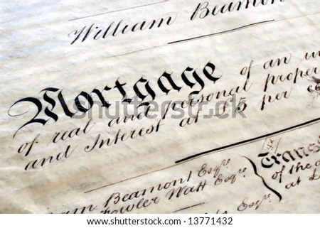 Old handwritten mortgage, on parchment, written in 1861. - stock photo