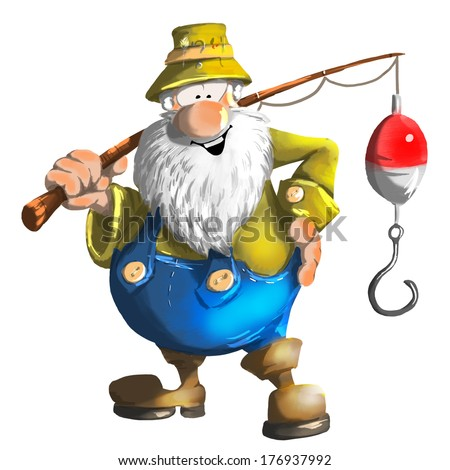 Old happy fisherman color illustration - stock photo