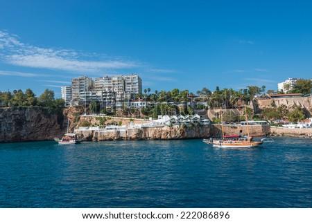 Old harbor and downtown called Marina in Antalya, Turkey, 2014 - stock photo