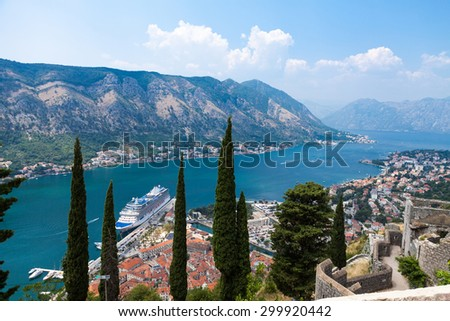 Old harbor and gulf of Kotor seen from above - stock photo