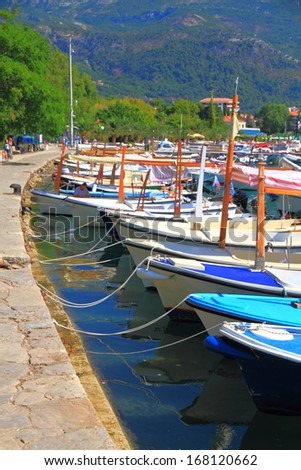 Old harbor on the shores of Adriatic sea - stock photo