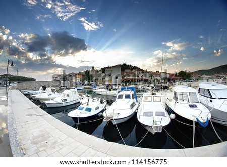 Old harbor or marina and stone houses, Croatia Dalmatia Tribunj
