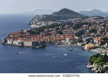 Old Harbour at Dubrovnik. View of the old city Dubrovnik,  Croatian city on the Adriatic Sea, in the region of Dalmatia. UNESCO list of World Heritage Sites - stock photo