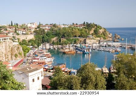 Old harbour in Antalya, Turkey - stock photo