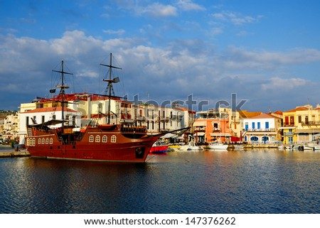Old harbour in city of Rethymno, Crete, Greece - stock photo