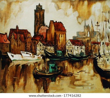 old harbour in the german city wismar, painting by oil on canvas,  illustration - stock photo