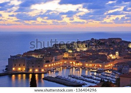 Old Harbour with lights, Dubrovnik, Croatia - stock photo