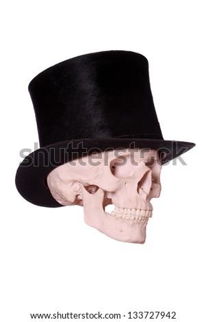 old hat on skull - stock photo