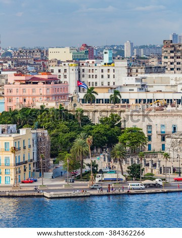 OLD HAVANA, CUBA - OCTOBER 27- Downtown waterfront area of historic Old Havana in Cuba on Oct 27, 2015 - stock photo