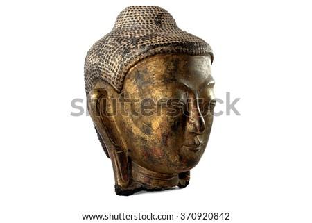 Old head buddha on white background - stock photo