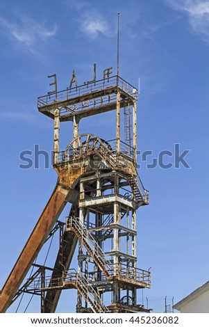 Old headframe of a disused coal mine in Labin in Istria - stock photo