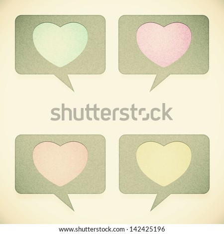 Old Heart tag recycled paper on white background - stock photo