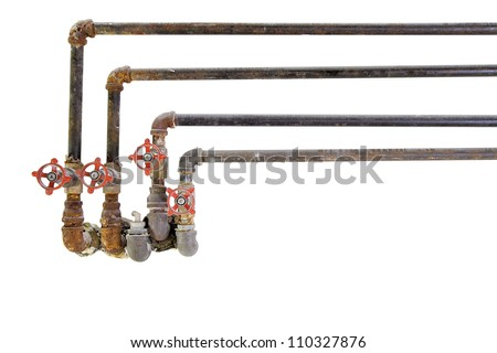 Old Heating Cooling Water Plumbing Pipes with Valves on White Background - stock photo