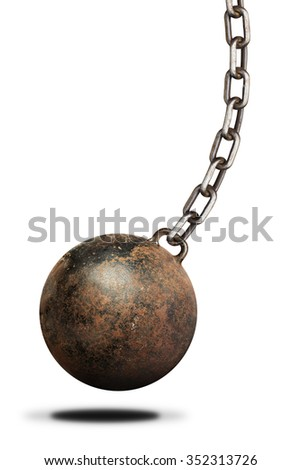 Old, heavy prisoner ball and chain over white background. Isolated - stock photo