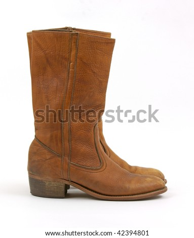 Old heeled leather boots