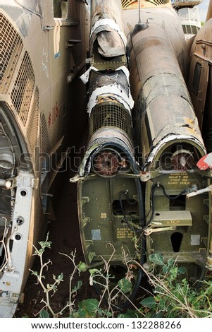 Old helicopter parts in a junkyard near Tuscon Arizona - stock photo