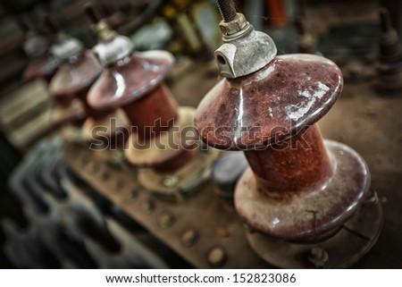 old high-voltage power transformer insulation - stock photo