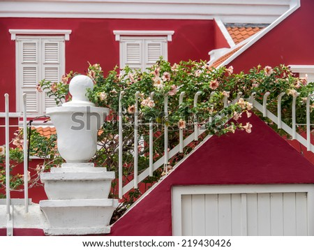 Old Histoirc Houses within the World heritage site of Willemstad on Curacao a Caribbean Island in the Dutch Antilles - stock photo